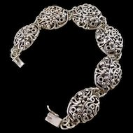 Vintage Sterling Silver Oval Filigree Link Bracelet