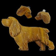 Vintage Carved Wood Cocker Spaniel Brooch Pin and Earring Set