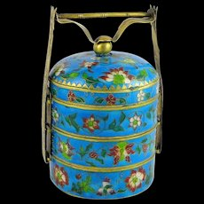 Vintage Chinese Polychrome Cloisonne Stacking Box Or Tiffin Turquoise