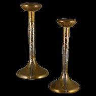 Antique Heintz Bronze and Sterling Candlesticks, Sea Grass 3107