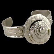 Signed Pal Kepenyes Spinner Cuff Bracelet, Vintage Brutalist Mexico