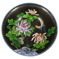 Large Vintage Chinese Cloisonne Bowl, Black With Chrysanthemums