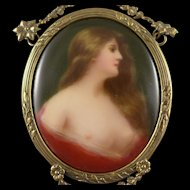 German Porcelain Portrait Miniature Of Odalisque, Hand Painted, Signed In Bronze Frame, After Asti