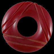 Vintage Red Carved Bakelite Brooch / Pin, Art Deco
