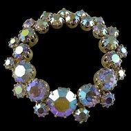 Vintage Kramer Aurora Borealis Circle Brooch / Pin