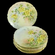 Antique Jean Pouyat Limoges Dessert Plates, Set of Six, Artist Signed