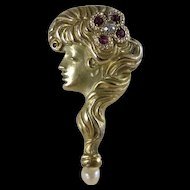 Antique 10K Gold Gibson Girl Stickpin / Stick Pin, Art Nouveau