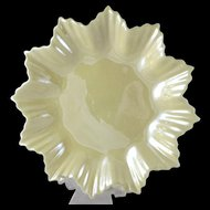 Vintage Belleek Yellow Pointed Star Dish, 2nd Green Mark