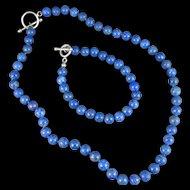 Vintage Lapis Lazuli Necklace And Bracelet Set With Sterling Clasps