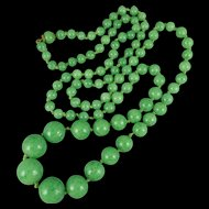 Vintage Peking Jade Glass Bead Necklace, Hand Knotted