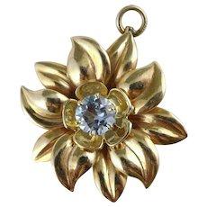 Gold Aquamarine Flower Pendant, Large Heavy 10K Vintage Retro