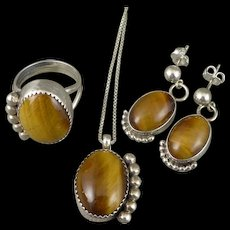 Sterling Silver Navajo Parure, Vintage Tiger Eye Ring, Necklace and Earrings By Irv Monte