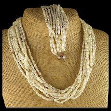 Gold Rice Pearl Set, Vintage Necklace And Bracelet Multi Strand Demi Parure