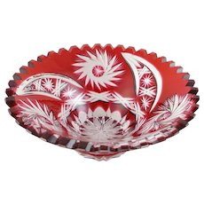 Ruby Crystal Bowl, Red Cut To Clear By Schonborner Bleikristall