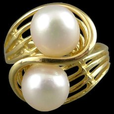 Cultured Pearl Ring, Vintage 14K Yellow Gold Bypass Style