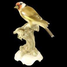 Hutschenreuther Selb Bird Figurine, Vintage Porcelain Goldfinch By K Tutter, Germany