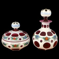 Bohemian Glass Dresser Set, Vintage White Cased Cut To Cranberry Enameled Scent Bottle And Covered Jar