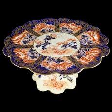 Bone China Pedestal Cake Plate, Antique Foley Wileman Imari Stand, Pattern 6664