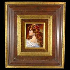 Limoges Enamel On Copper Portrait, Vintage Miniature Of Lady, Artist Signed F J Carmona