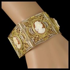 Vintage Shell Cameo Bracelet, Gilt 800 Silver Cannetille Wire Work Panel Bracelet