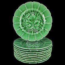 French Majolica Plate Set, Vintage Sarreguemines Grape Vine And Leaf Design, Set Of Ten
