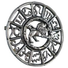 Sterling Silver Zodiac Brooch, Vintage Leo Sun Sign Pin