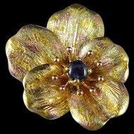 Antique Gold Sapphire Pansy Brooch, Art Nouveau 14K Flower Pin