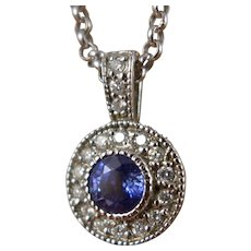 Gold Sapphire Diamond Necklace, Vintage White Gold Pendant On A Rolo Chain
