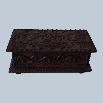 Hand carved box wooden from 1776