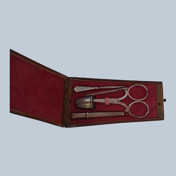 Dutch silver sewing tools in French case