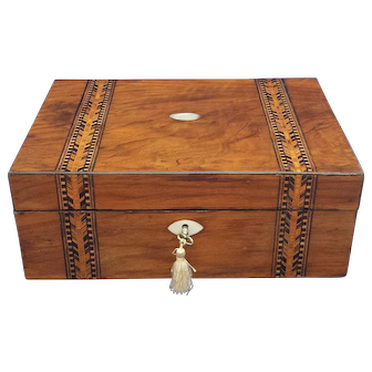 Antique English parquetry sewing box with fitted interior and content