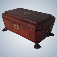 Georgian sewing box, antique leather with engraving and fittings from the early 19th century