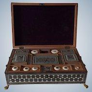 Sadeli sewing box, Anglo-Indian, Vizagapatam, micro mosaic, with original content