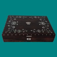 Game box with about 130 mother of pearl gaming chips, counters or tokens for poker, whist or bridge, 19th century English