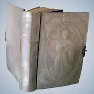 Mother of pearl book of prayers, 19th century Spanish, with handcarved Mary