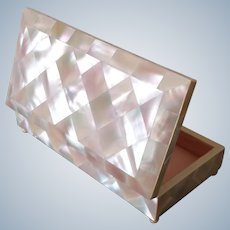 Jewellery or trinket box, antique mother of pearl, lined with pink silk