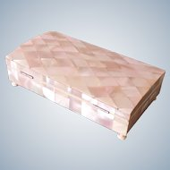 Mother of pearl jewellery or trinket box, antique