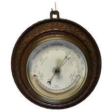 Wall Barometer and  curved Mercury Thermometer 19th Century, Carved Wood surround