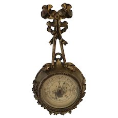 "Miniature Gilt Wood  19th Century French Barometer, only 8"" Tall, Fully Working"