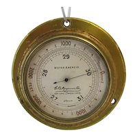 """Auto""  Altimeter and Barometer. Quality Brass Cased. Attach to the Car Dashboard"