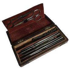 19th Century Field Surgical Instrument Kit, Mahogany Case. Civil War.