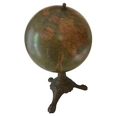 "Antique Desk Globe, Three Leg Metal Base, 13"" Tall. c.1910"