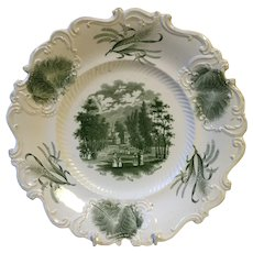 Green and White Transfer printed English Plate c. 1880