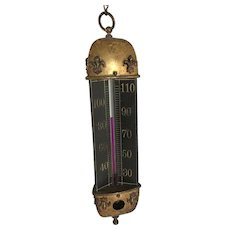 3 Sided Chandelier Thermometer, Large Bulb Alcohol Thermometer. c.1900