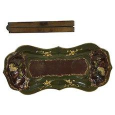 19th Century Papier Mache tray....Green