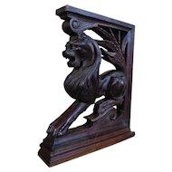 19th Century Antique Renaissance Style Oak Lion Bracket