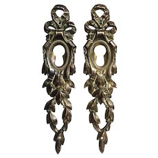 Pair of 19th Century French Louis XVI Bronze Escutcheons