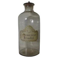 "19"" Tall 19th Century French Apothecary Glass Bottle"
