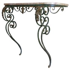 Antique French Louis XV Style Wrought Iron Console