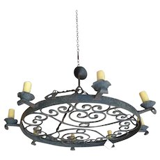 Antique French Round Wrought Iron 8-Light Chandelier